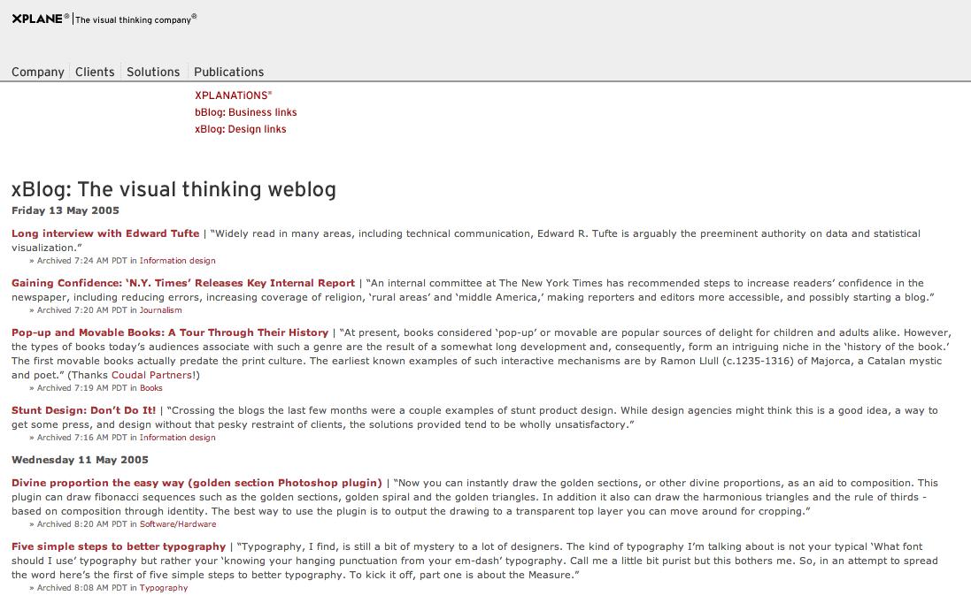 Presenting xBlog | The visual thinking weblog
