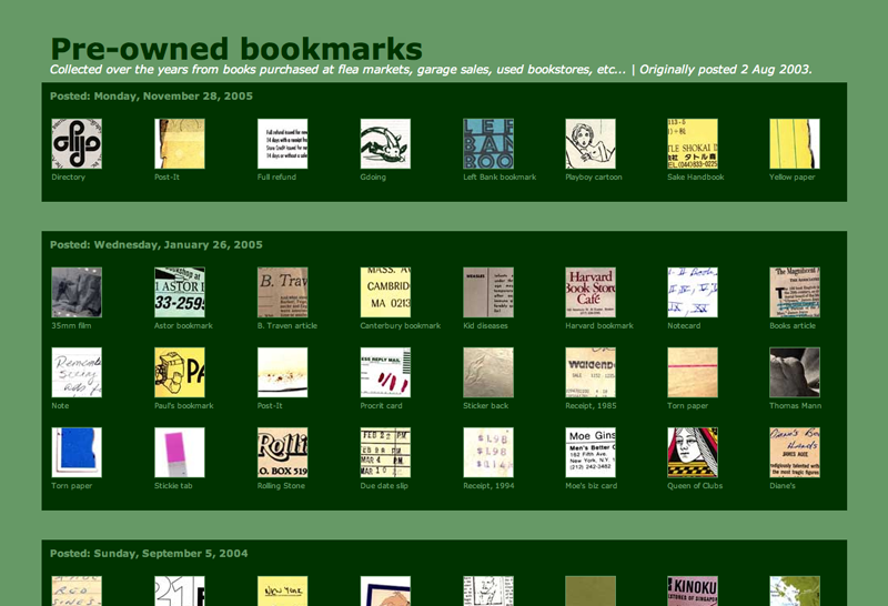 Pre-owned bookmarks