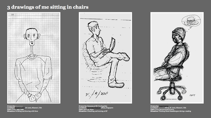 3 drawings of me sitting in chairs
